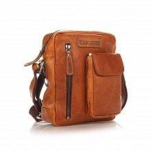 Кожаная мужская сумка HILL BURRY 3106 коньячного цвета на молнии, с накладным карманом