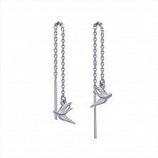 Серебряные серьги-ппротяжки Ласточки,150мм