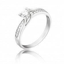 Золотое помолвочное кольцо Юки в белом цвете с бриллиантами