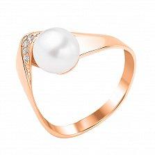 Золотое кольцо Кастильда с жемчугом и фианитами