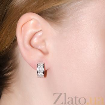 Золотые серьги-пуссеты в белом цвете с бриллиантами Вилия E 0775