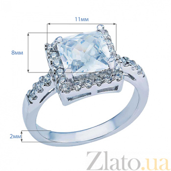 Серебряное кольцо с квадратным цирконом Брандая AQA--MS-152-R