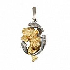 Подвеска Детеныш пантеры из белого золота с фианитами