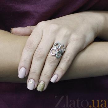Серебряное кольцо Счастливый случай с красными и зелеными фианитами 000096607