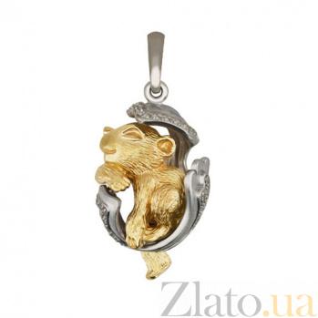 Подвеска Детеныш пантеры из белого золота с фианитами VLT--Т3486