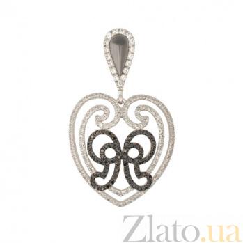 Золотая подвеска с белого золота Сердце с фианитом VLT--ТТТ3474