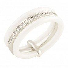 Серебряное кольцо Клементина с белой керамикой и фианитами