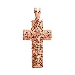 Декоративный крестик из красного золота с фианитами 000129430