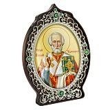 Икона латунная с образом Святителя Николая Чудотворца