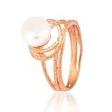 Позолоченное кольцо из серебра с жемчугом Ураган
