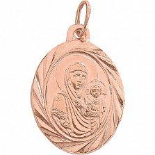 Золотая ладанка Божья Матерь Владимирская с насечкой