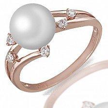 Кольцо Анна из красного золота с бриллиантами и жемчугом