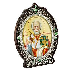 Икона Николай Чудотворец с латунью, зелеными фианитами и цветной эмалью 000004190