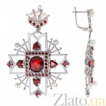 Серебряные серьги с фианитами и жемчугом Эльпида TNG--430618С/крас
