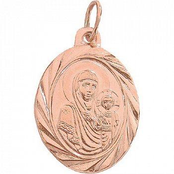 Золотая ладанка Божья Матерь Владимирская с насечкой 000046126
