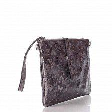Кожаный клатч Genuine Leather 1544 фиолетово-серого цвета с тиснением-бабочками и ремешком