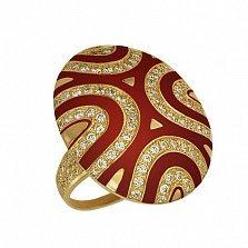 Кольцо из желтого золота Светская львица с фианитами