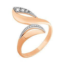 Позолоченное серебряное кольцо с фианитами 000025595