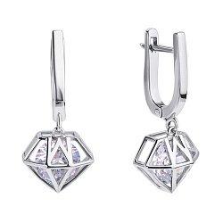 Серебряные серьги-подвески Идеал с цирконием в стиле геометрия 000116318