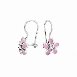 Серебряные детские серьги Милые цветочки с розовой эмалью и фианитами