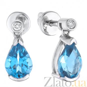 Серьги Иванна из белого золота с голубым топазом и бриллиантами TRF--2221298н/топ