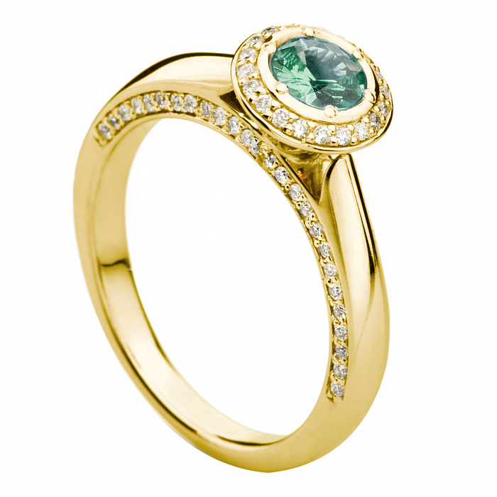 Золотое кольцо с турмалином Устинья 000030362