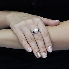 Серебряное кольцо Рафаэлла с жемчугом, синтезированным сапфиром и фианитами