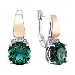 Серебряные серьги с золотыми накладками, зеленым кварцем и фианитами 000136374