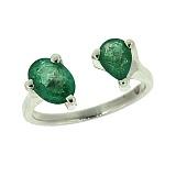 Серебряное кольцо с изумрудами Роксан