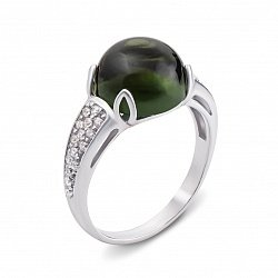 Серебряное кольцо с зеленым кварцем и фианитами 000134172