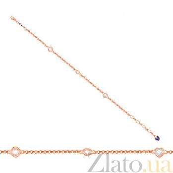 Золотой браслет Девичьи грезы с белыми и синими фианитами VLT--Н554