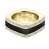 Золотое кольцо в желтом цвете с бриллиантами и эмалью Утро и вечер