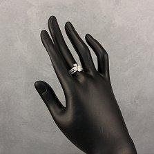 Серебряное тройное кольцо Квартет с сердечками и фианитами