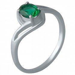 Серебряное кольцо с синтезированным изумрудом и родированием 000128870