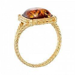 Серебряное позолоченное кольцо с янтарем 000137852