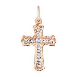Крестик в комбинированном цвете золота без распятия 000130718