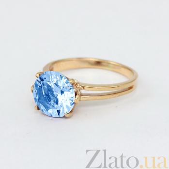 Золотое кольцо с голубым топазом Лазурь VLN--112-1350-1