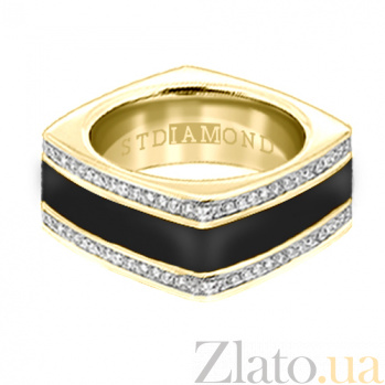 Золотое кольцо в желтом цвете с бриллиантами и эмалью Утро и вечер 000029580