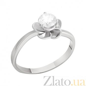 Кольцо в белом золоте Флора с фианитом 000022904