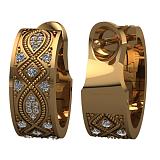 Золотые серьги Благополучие с белыми бриллиантами