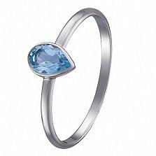 Кольцо в белом золоте Габриэла с голубым топазом