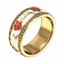 Золотое кольцо с цветной эмалью и бриллиантами Настоящая любовь