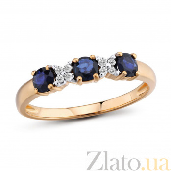 Кольцо Бриата из красного золота с бриллиантами и сапфирами 000096833