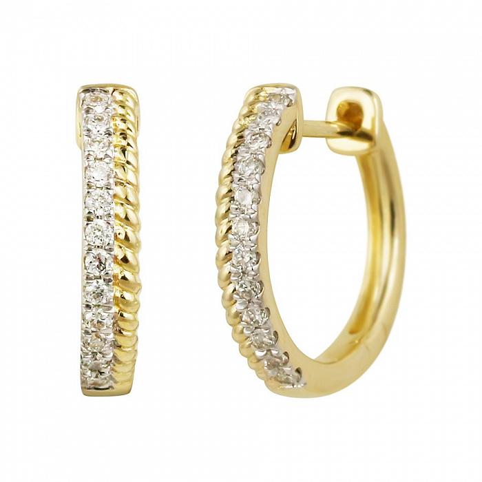 Серьги-колечки из желтого золота Аура с бриллиантами 000081224