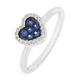Золотое кольцо Светлая любовь с сапфирами и бриллиантами