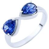 Серебряное кольцо Бесконечность с синтезированным танзанитом