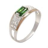 Серебряное кольцо с золотом и фианитами Фемида
