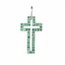 Серебряный крестик Руфина с зелеными фианитами