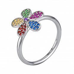 Серебряное кольцо Амалия с альпинитом, цирконием, синтезированными корундом и шпинелью