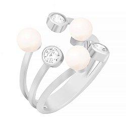 Серебряное кольцо Санторини с жемчугом и фианитами 000030956